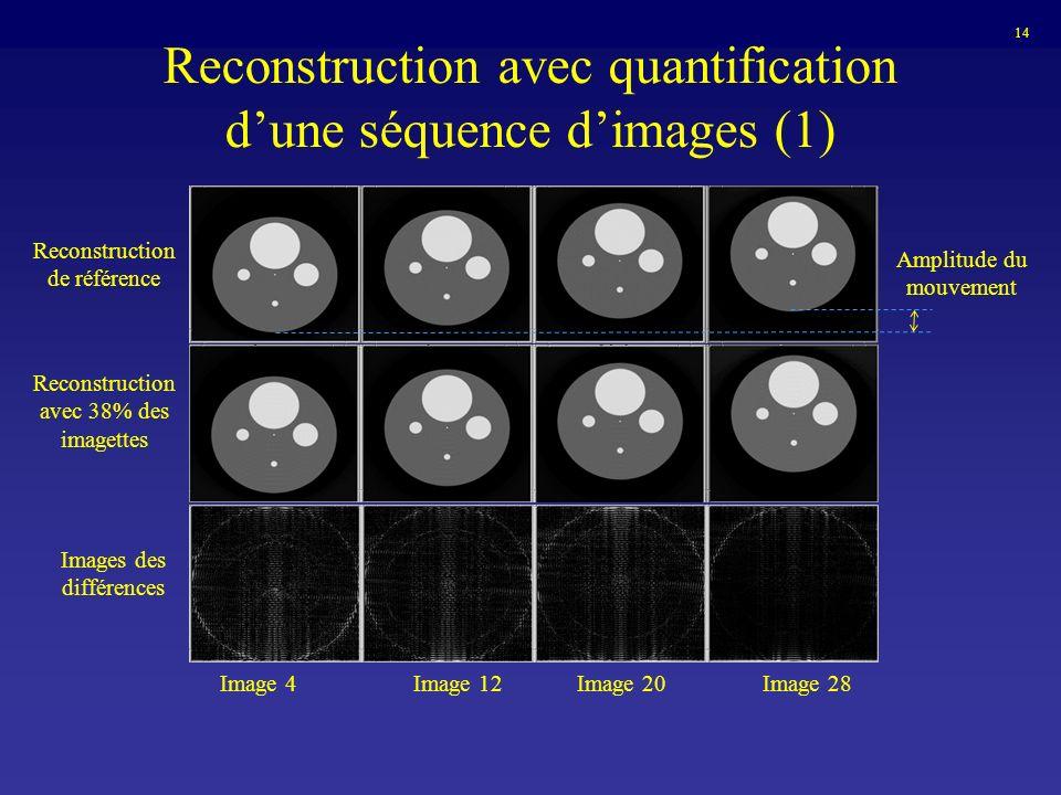 Reconstruction avec quantification dune séquence dimages (1) Reconstruction de référence Amplitude du mouvement Reconstruction avec 38% des imagettes