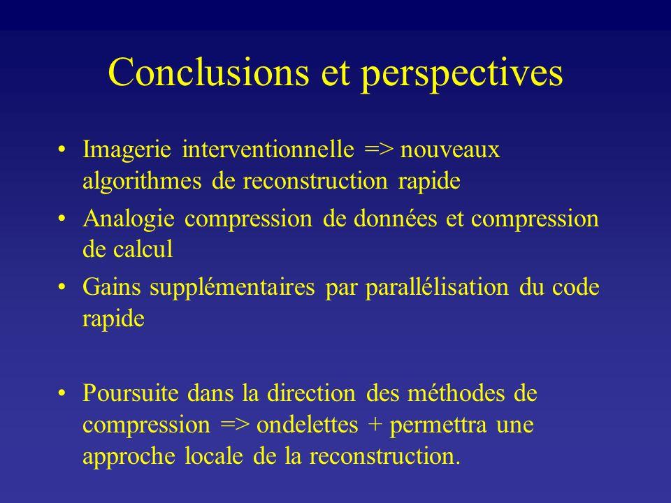 Conclusions et perspectives Imagerie interventionnelle => nouveaux algorithmes de reconstruction rapide Analogie compression de données et compression