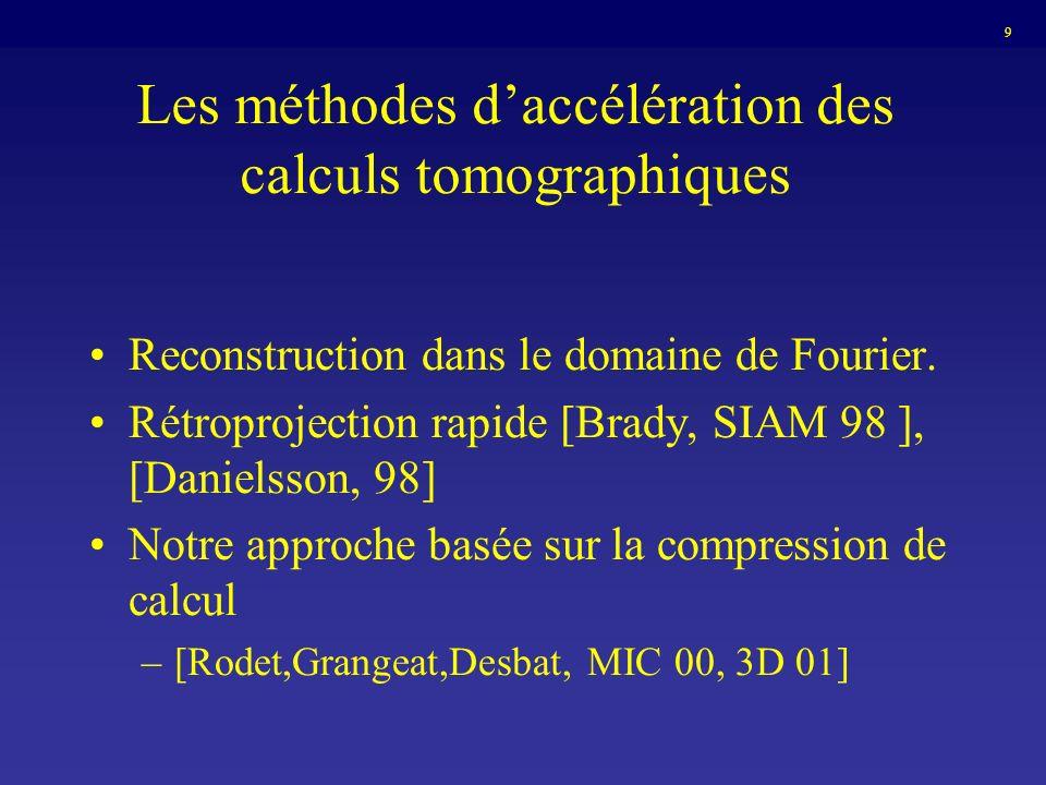 Les méthodes daccélération des calculs tomographiques Reconstruction dans le domaine de Fourier. Rétroprojection rapide [Brady, SIAM 98 ], [Danielsson