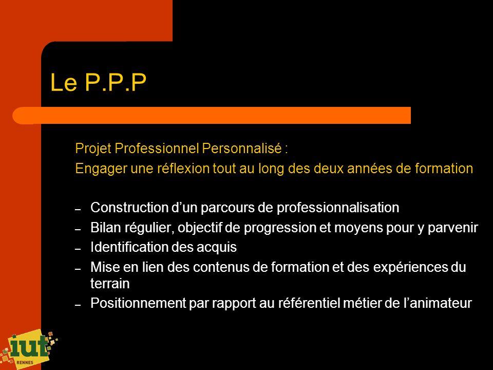 Le P.P.P Projet Professionnel Personnalisé : Engager une réflexion tout au long des deux années de formation – Construction dun parcours de profession