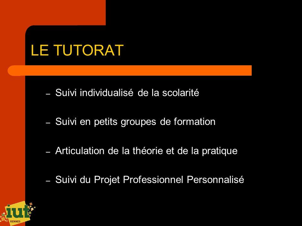 LE TUTORAT – Suivi individualisé de la scolarité – Suivi en petits groupes de formation – Articulation de la théorie et de la pratique – Suivi du Proj