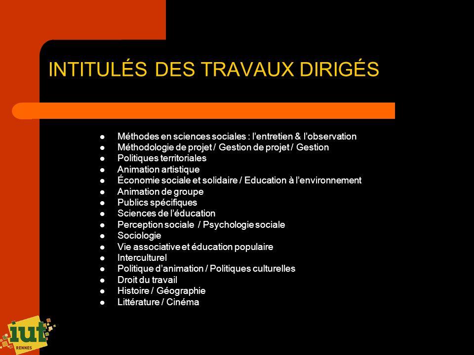 INTITULÉS DES TRAVAUX DIRIGÉS Méthodes en sciences sociales : lentretien & lobservation Méthodologie de projet / Gestion de projet / Gestion Politique