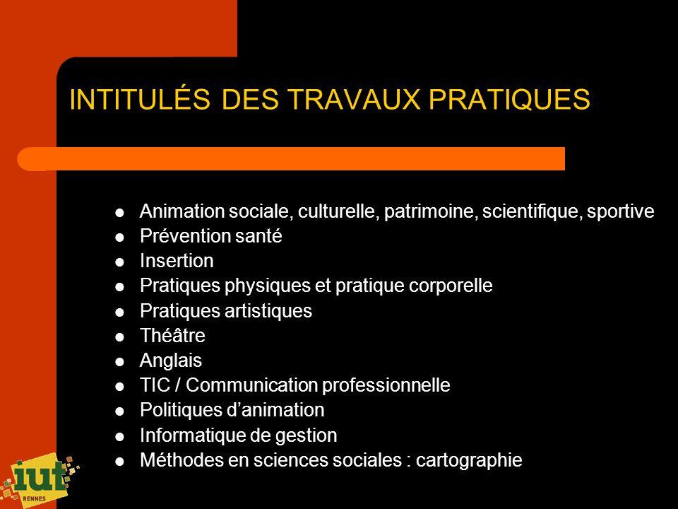 INTITULÉS DES TRAVAUX PRATIQUES Animation sociale, culturelle, patrimoine, scientifique, sportive Prévention santé Insertion Pratiques physiques et pr