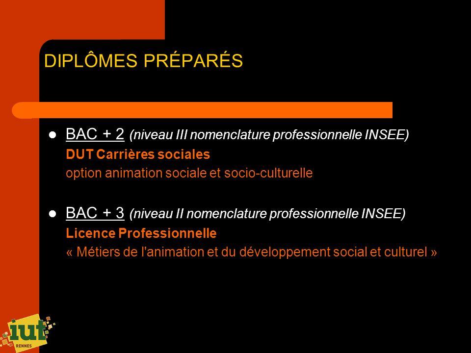 DIPLÔMES PRÉPARÉS BAC + 2 (niveau III nomenclature professionnelle INSEE) DUT Carrières sociales option animation sociale et socio-culturelle BAC + 3