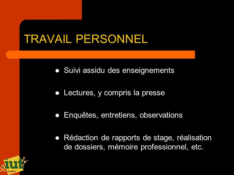 TRAVAIL PERSONNEL Suivi assidu des enseignements Lectures, y compris la presse Enquêtes, entretiens, observations Rédaction de rapports de stage, réal