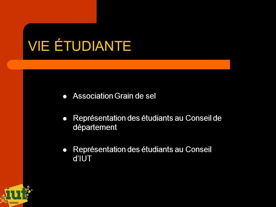 VIE ÉTUDIANTE Association Grain de sel Représentation des étudiants au Conseil de département Représentation des étudiants au Conseil dIUT