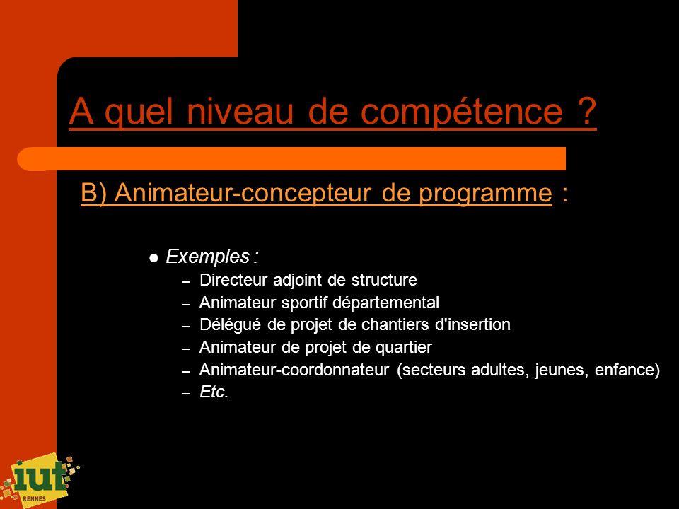 A quel niveau de compétence ? B) Animateur-concepteur de programme : Exemples : – Directeur adjoint de structure – Animateur sportif départemental – D