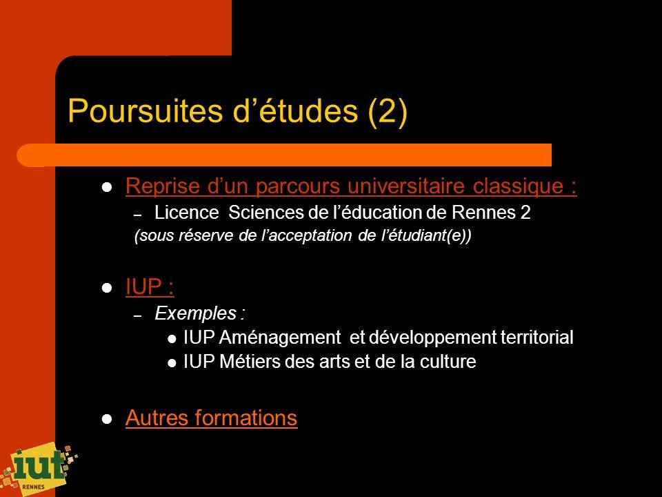 Poursuites détudes (2) Reprise dun parcours universitaire classique : – Licence Sciences de léducation de Rennes 2 (sous réserve de lacceptation de lé
