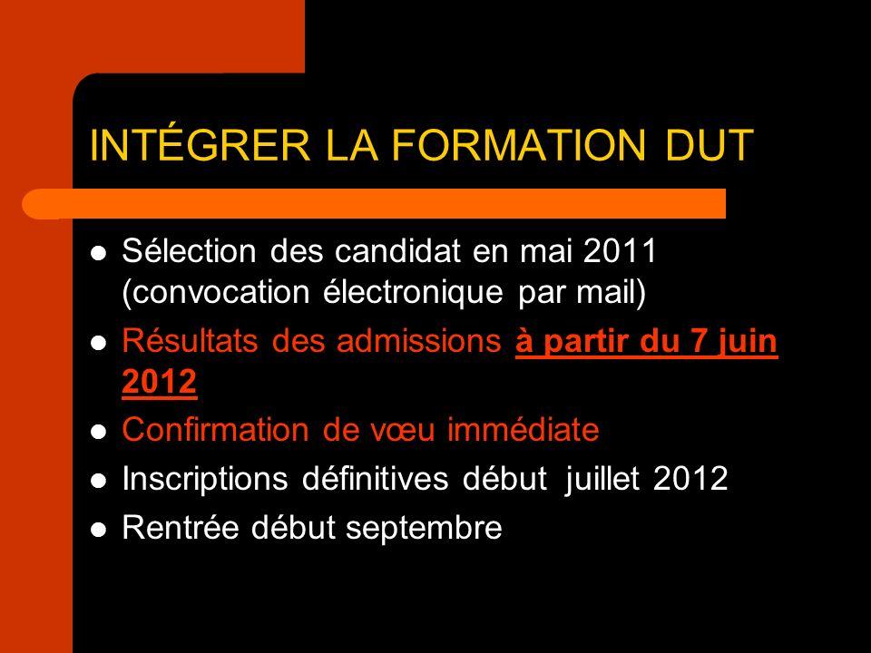Sélection des candidat en mai 2011 (convocation électronique par mail) Résultats des admissions à partir du 7 juin 2012 Confirmation de vœu immédiate