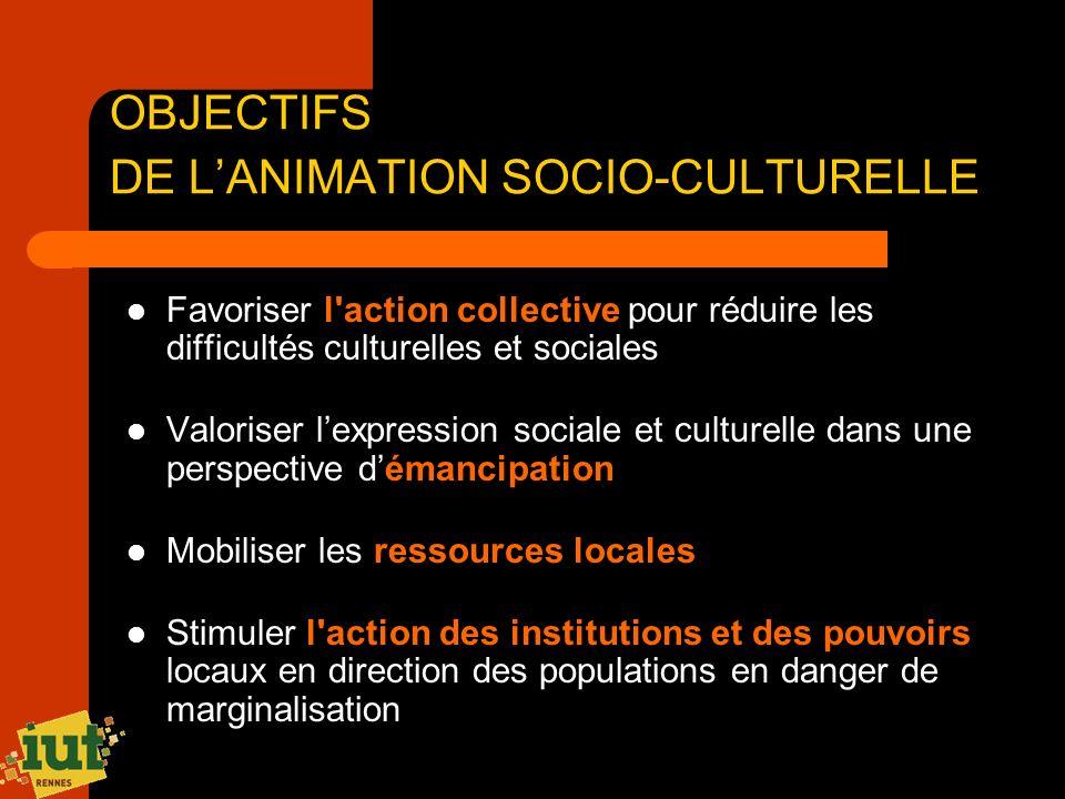 OBJECTIFS DE LANIMATION SOCIO-CULTURELLE Favoriser l'action collective pour réduire les difficultés culturelles et sociales Valoriser lexpression soci
