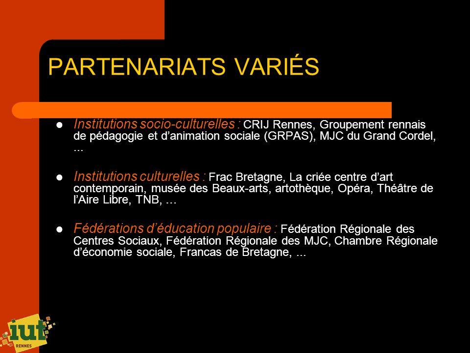PARTENARIATS VARIÉS Institutions socio-culturelles : CRIJ Rennes, Groupement rennais de pédagogie et danimation sociale (GRPAS), MJC du Grand Cordel,.