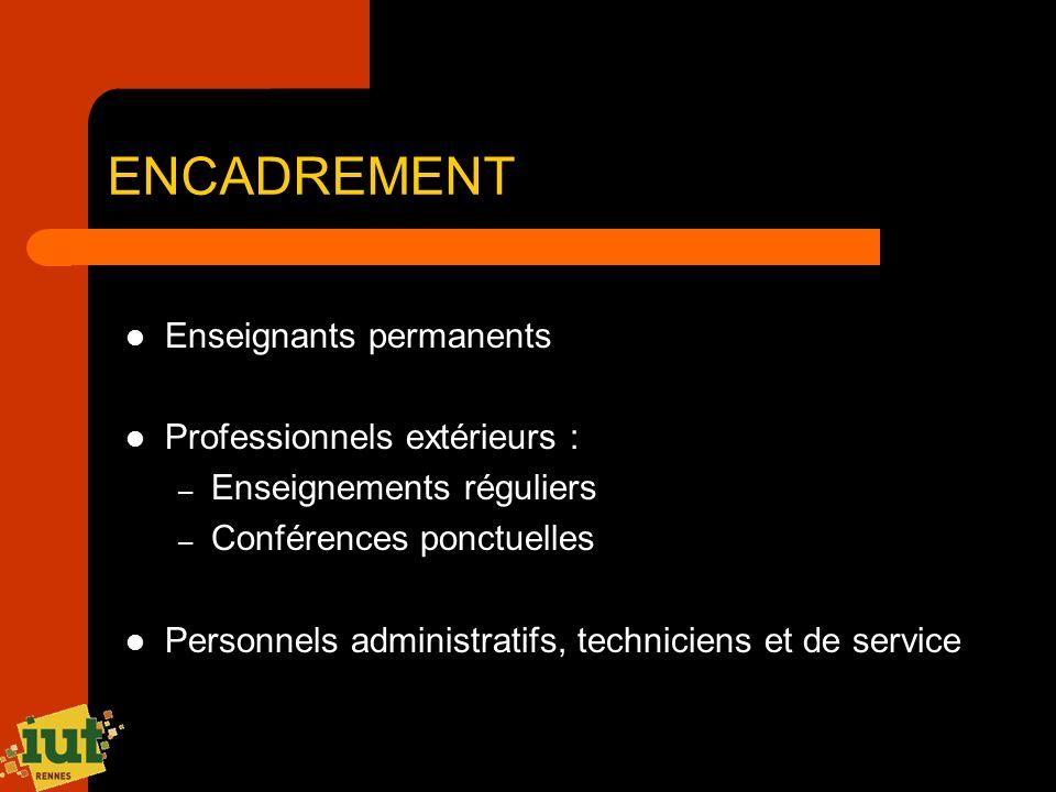 ENCADREMENT Enseignants permanents Professionnels extérieurs : – Enseignements réguliers – Conférences ponctuelles Personnels administratifs, technici
