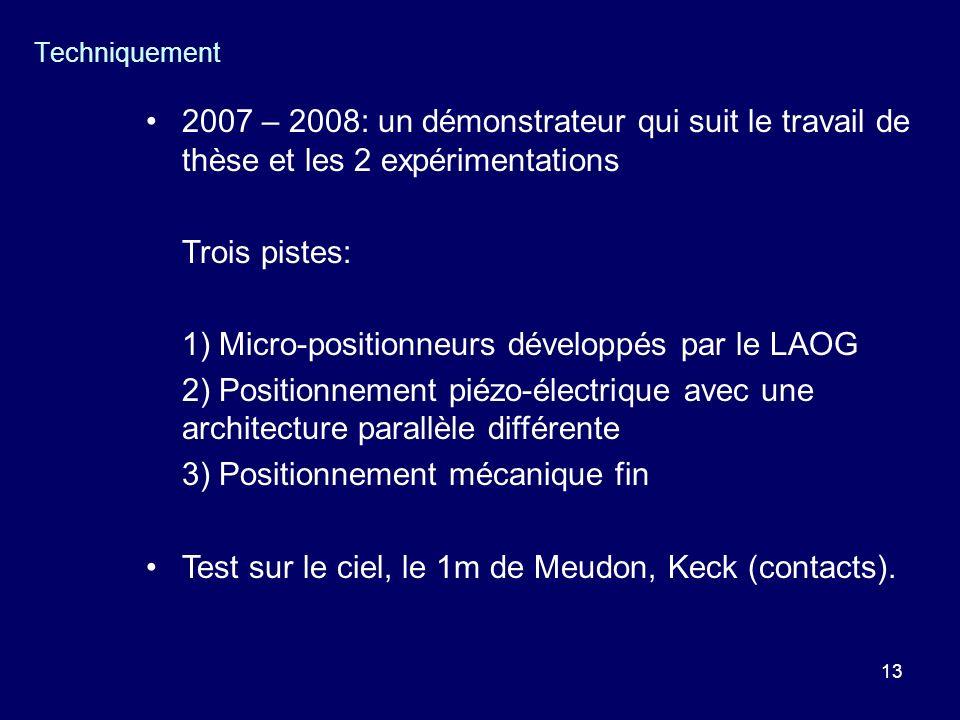 13 Techniquement 2007 – 2008: un démonstrateur qui suit le travail de thèse et les 2 expérimentations Trois pistes: 1) Micro-positionneurs développés