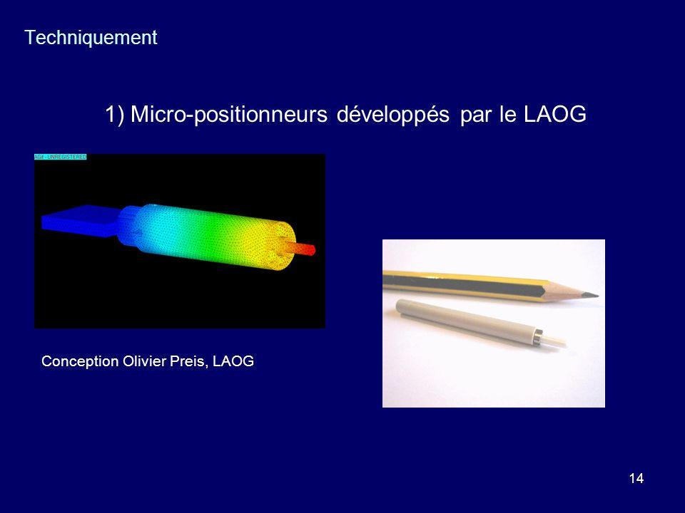 14 Techniquement 1) Micro-positionneurs développés par le LAOG Conception Olivier Preis, LAOG