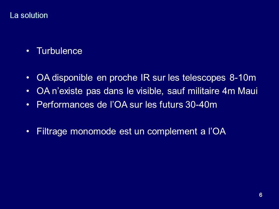 6 La solution Turbulence OA disponible en proche IR sur les telescopes 8-10m OA nexiste pas dans le visible, sauf militaire 4m Maui Performances de lO