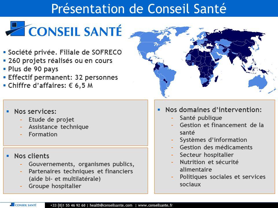 Présentation de Conseil Santé +33 (0)1 55 46 92 60   health@conseilsante.com   www.conseilsante.fr Société privée. Filiale de SOFRECO 260 projets réal