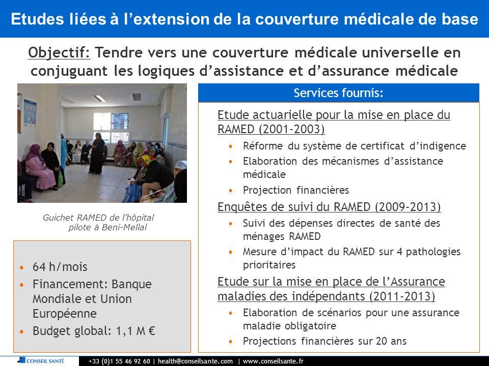 Etudes liées à lextension de la couverture médicale de base +33 (0)1 55 46 92 60   health@conseilsante.com   www.conseilsante.fr Objectif: Tendre vers