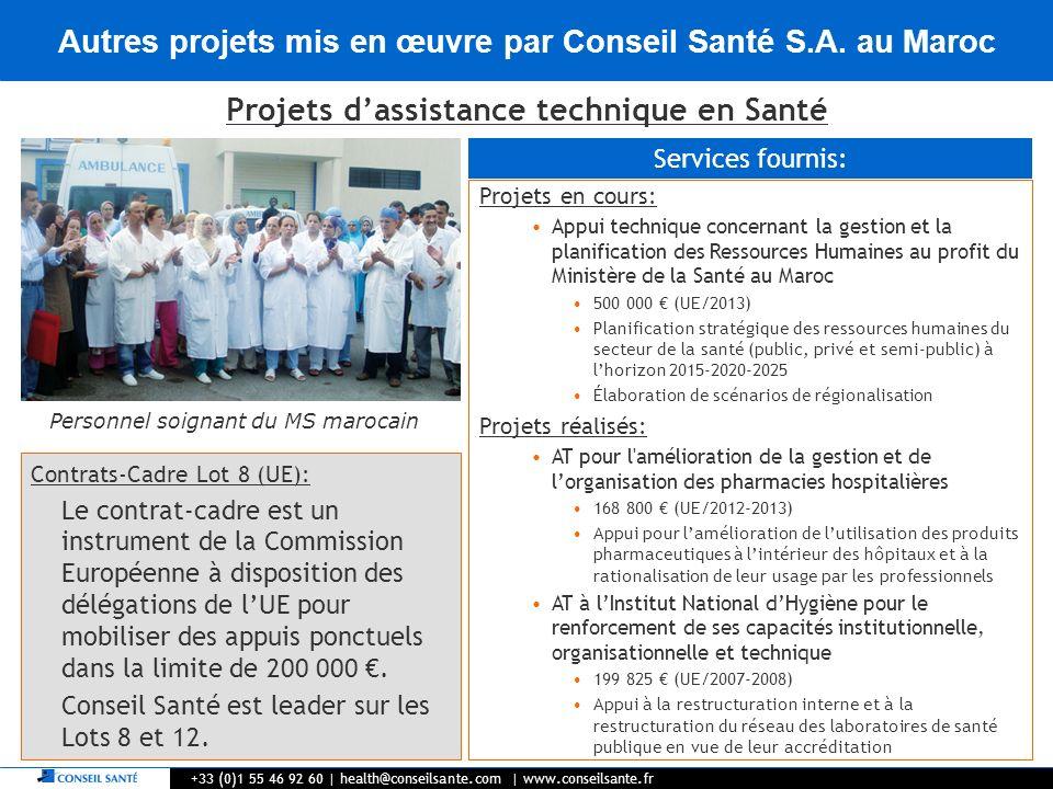 Autres projets mis en œuvre par Conseil Santé S.A. au Maroc +33 (0)1 55 46 92 60   health@conseilsante.com   www.conseilsante.fr Projets dassistance t