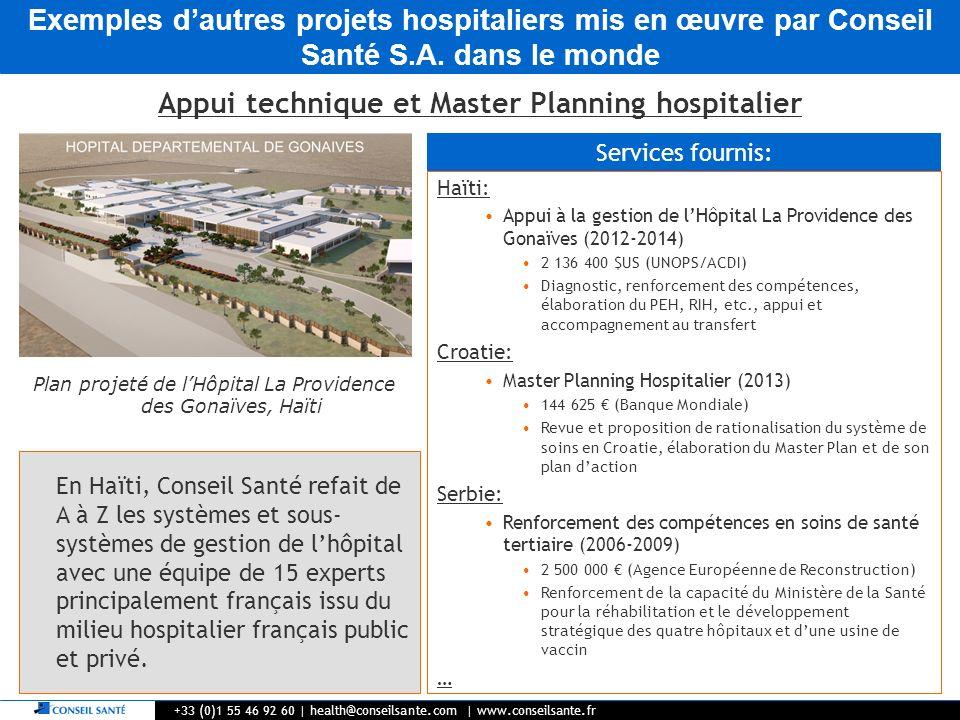 Exemples dautres projets hospitaliers mis en œuvre par Conseil Santé S.A. dans le monde +33 (0)1 55 46 92 60   health@conseilsante.com   www.conseilsa