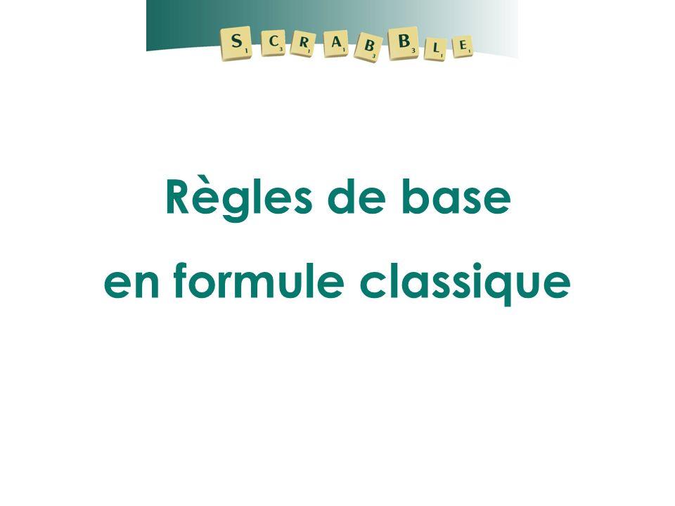 REGLES DE BASE Tirage des lettres : le joueur place le sac à hauteur des yeux.