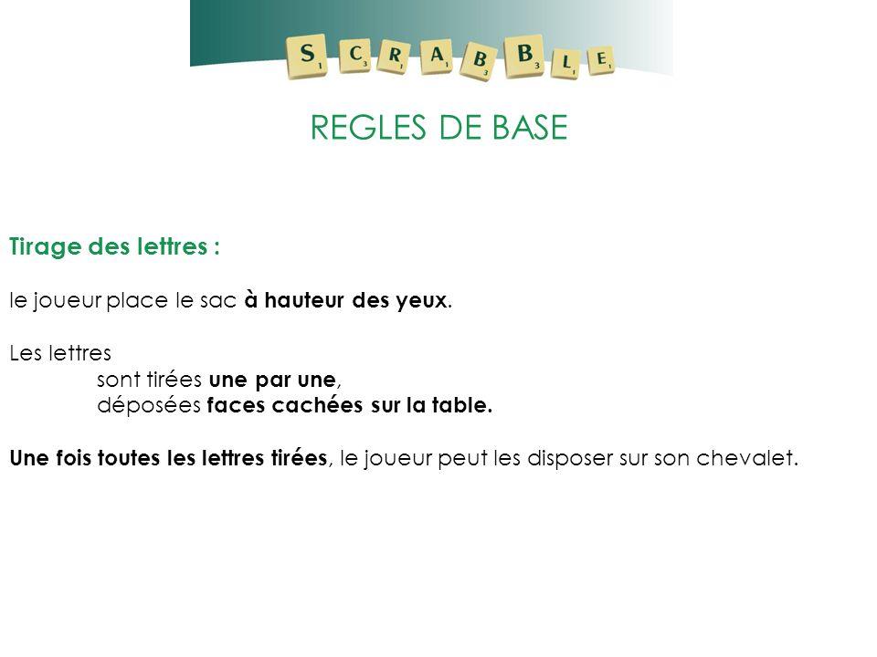 REGLES DE BASE Tirage des lettres : le joueur place le sac à hauteur des yeux. Les lettres sont tirées une par une, déposées faces cachées sur la tabl