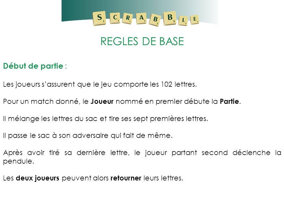 REGLES DE BASE Début de partie : Les joueurs sassurent que le jeu comporte les 102 lettres. Pour un match donné, le Joueur nommé en premier débute la