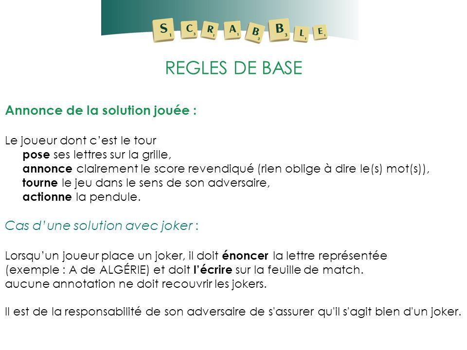REGLES DE BASE Annonce de la solution jouée : Le joueur dont cest le tour pose ses lettres sur la grille, annonce clairement le score revendiqué (rien