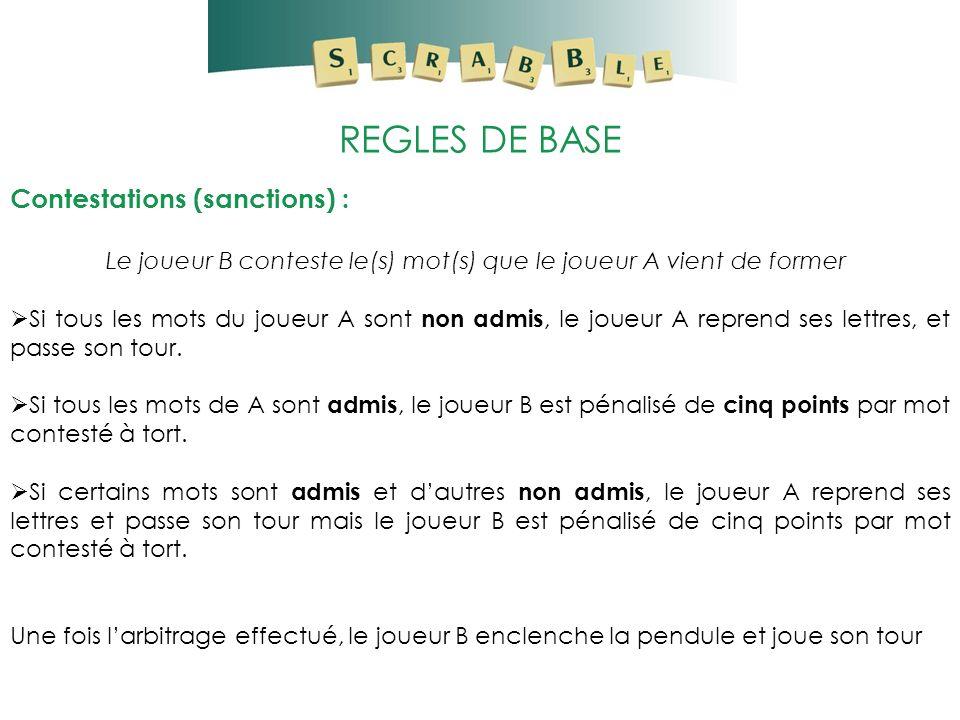 REGLES DE BASE Contestations (sanctions) : Le joueur B conteste le(s) mot(s) que le joueur A vient de former Si tous les mots du joueur A sont non adm