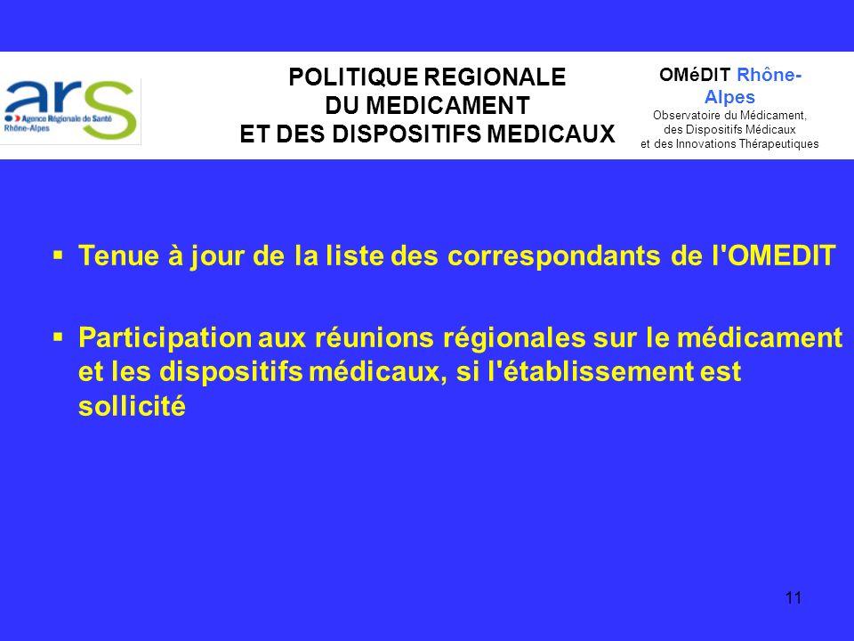 11 POLITIQUE REGIONALE DU MEDICAMENT ET DES DISPOSITIFS MEDICAUX Tenue à jour de la liste des correspondants de l'OMEDIT Participation aux réunions ré