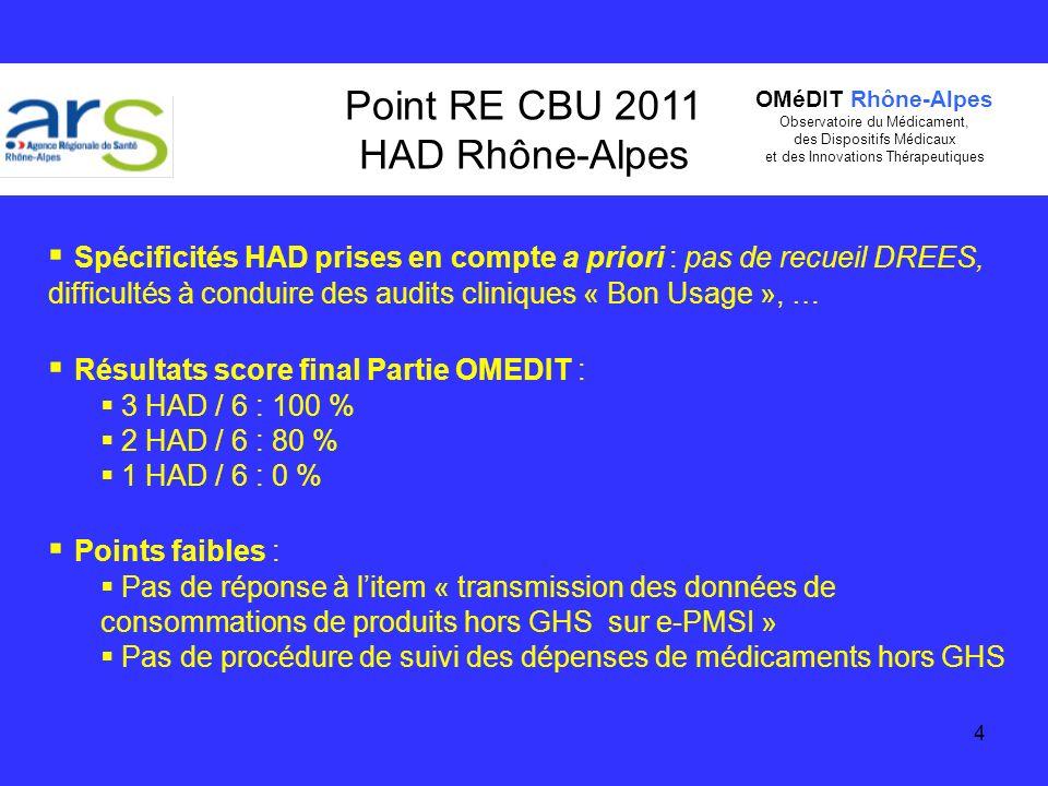 4 Point RE CBU 2011 HAD Rhône-Alpes Spécificités HAD prises en compte a priori : pas de recueil DREES, difficultés à conduire des audits cliniques « B