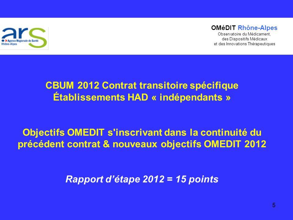 5 CBUM 2012 Contrat transitoire spécifique Établissements HAD « indépendants » Objectifs OMEDIT s'inscrivant dans la continuité du précédent contrat &