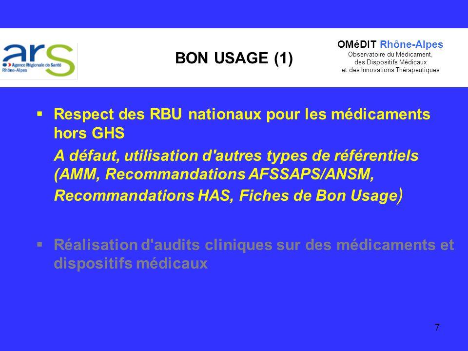 7 BON USAGE (1) Respect des RBU nationaux pour les médicaments hors GHS A défaut, utilisation d'autres types de référentiels (AMM, Recommandations AFS