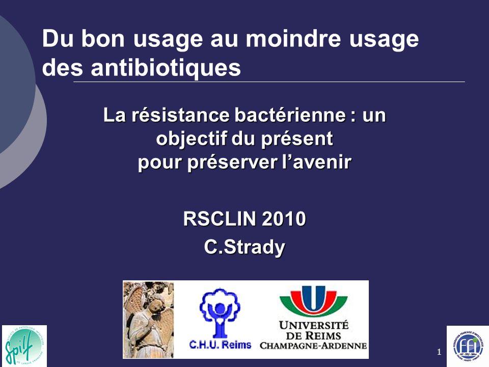 1 Du bon usage au moindre usage des antibiotiques La résistance bactérienne : un objectif du présent pour préserver lavenir RSCLIN 2010 C.Strady