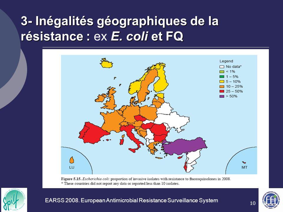 10 3- Inégalités géographiques de la résistance :E. coli et FQ 3- Inégalités géographiques de la résistance : ex E. coli et FQ EARSS 2008. European An