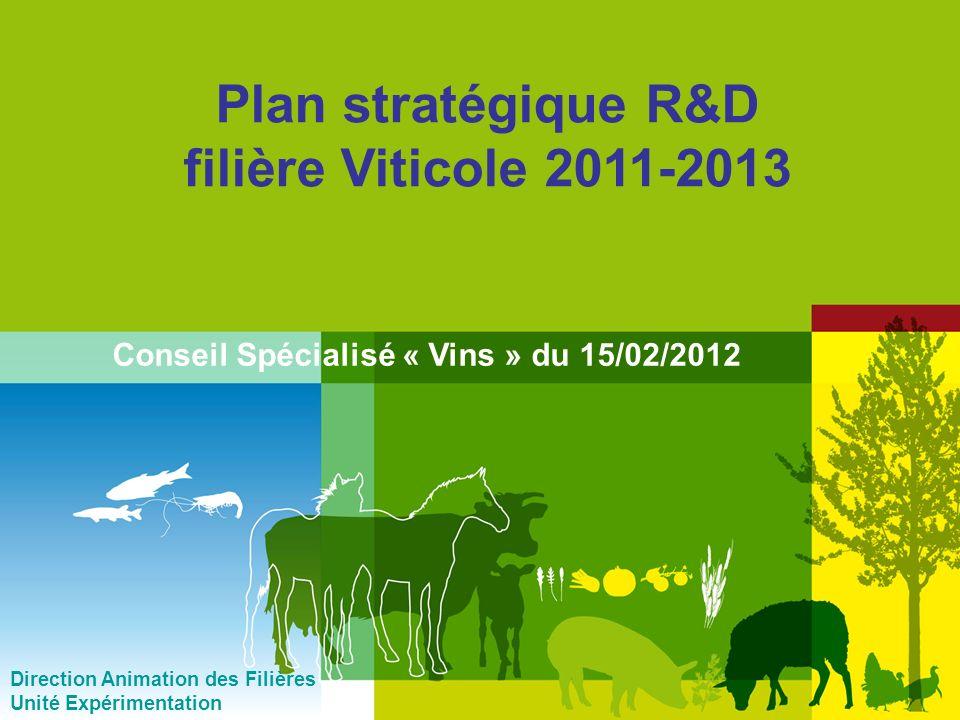 1 Plan stratégique R&D filière Viticole 2011-2013 Direction Animation des Filières Unité Expérimentation Conseil Spécialisé « Vins » du 15/02/2012