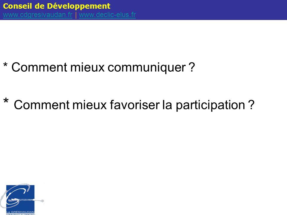 Conseil de Développement www.cdgresivaudan.frwww.cdgresivaudan.fr | www.declic-elus.frwww.declic-elus.fr Q1 / Recevez – vous les courriels du Conseil de développement (invitation, compte rendu, hebdo du CD, …) .