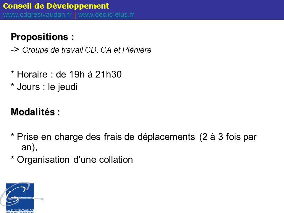 Conseil de Développement www.cdgresivaudan.frwww.cdgresivaudan.fr | www.declic-elus.frwww.declic-elus.fr Propositions : -> Groupe de travail CD, CA et Plénière * Horaire : de 19h à 21h30 * Jours : le jeudi Modalités : * Prise en charge des frais de déplacements (2 à 3 fois par an), * Organisation dune collation