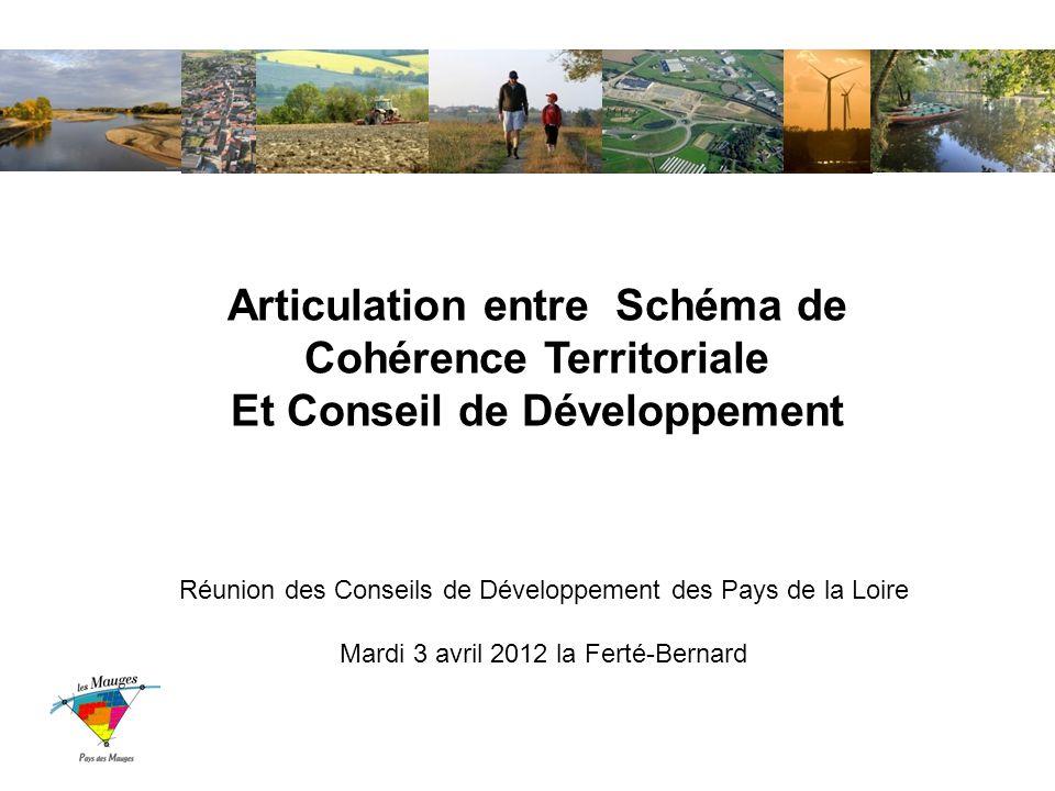 Articulation entre Schéma de Cohérence Territoriale Et Conseil de Développement Réunion des Conseils de Développement des Pays de la Loire Mardi 3 avril 2012 la Ferté-Bernard
