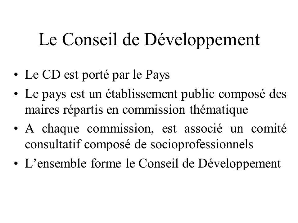 Le Conseil de Développement Le CD est porté par le Pays Le pays est un établissement public composé des maires répartis en commission thématique A chaque commission, est associé un comité consultatif composé de socioprofessionnels Lensemble forme le Conseil de Développement