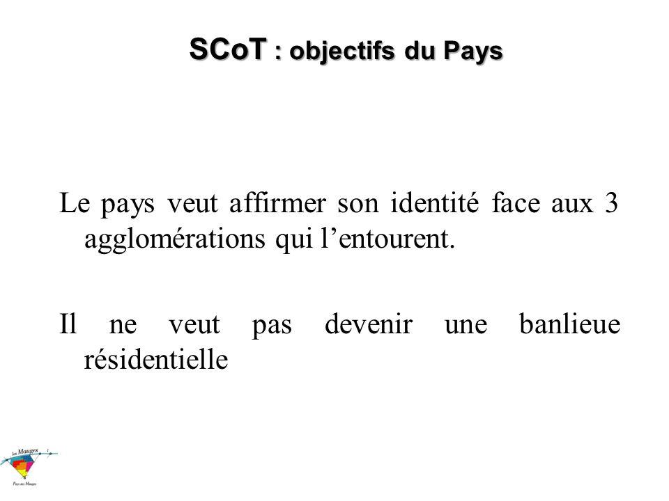 SCoT : objectifs du Pays Le pays veut affirmer son identité face aux 3 agglomérations qui lentourent.
