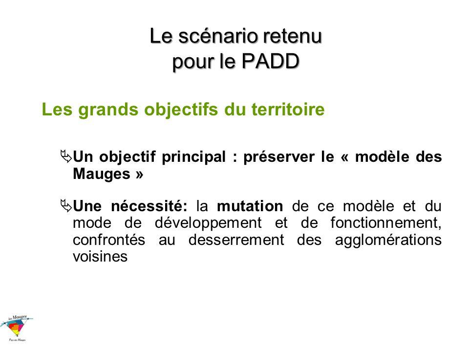 Le scénario retenu pour le PADD Les grands objectifs du territoire Un objectif principal : préserver le « modèle des Mauges » Une nécessité: la mutation de ce modèle et du mode de développement et de fonctionnement, confrontés au desserrement des agglomérations voisines