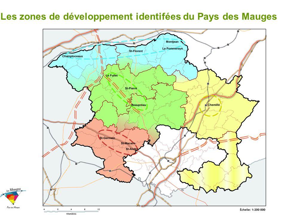 Les zones de développement identifées du Pays des Mauges