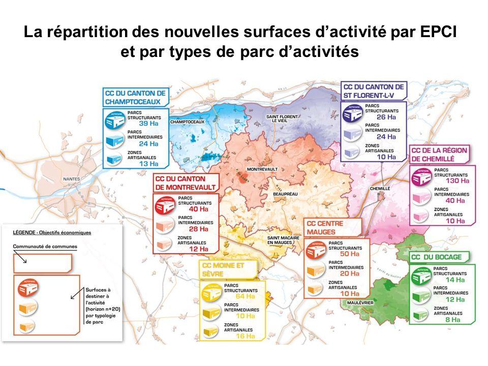 La répartition des nouvelles surfaces dactivité par EPCI et par types de parc dactivités