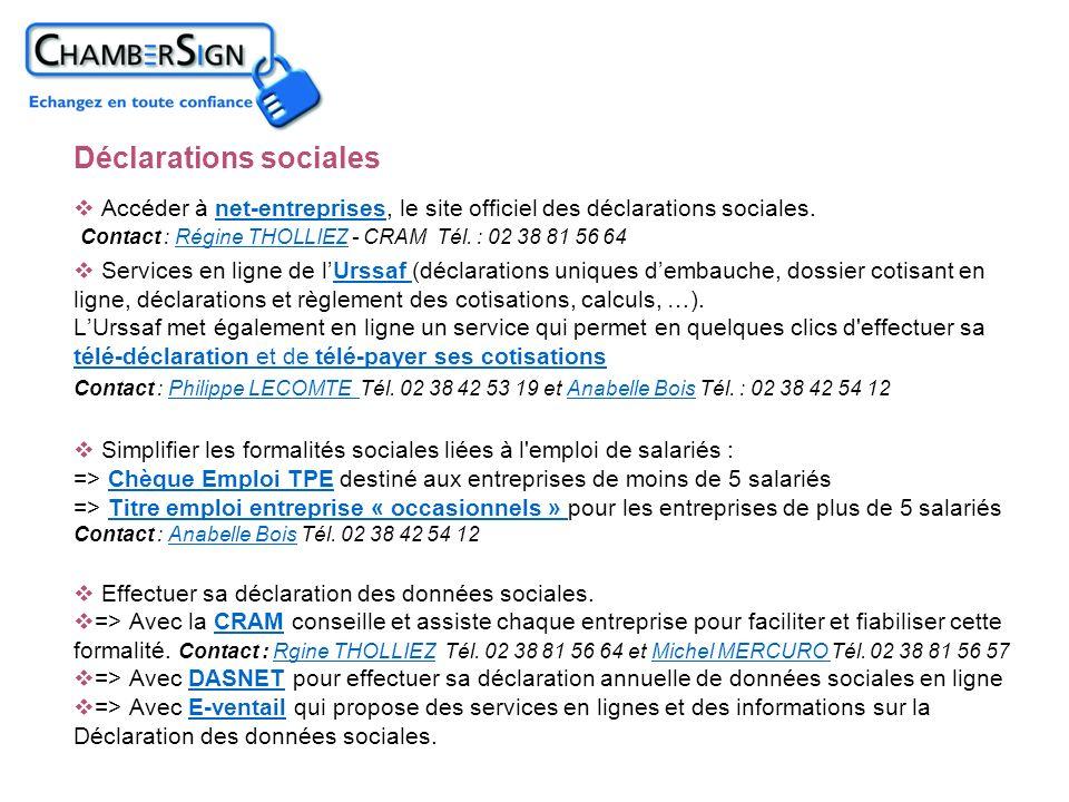 Accéder à net-entreprises, le site officiel des déclarations sociales. Contact : Régine THOLLIEZ - CRAM Tél. : 02 38 81 56 64net-entreprisesRégine THO