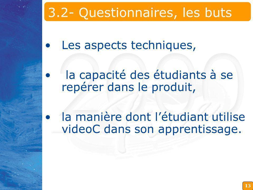 13 3.2- Questionnaires, les buts Les aspects techniques, la capacité des étudiants à se repérer dans le produit, la manière dont létudiant utilise videoC dans son apprentissage.