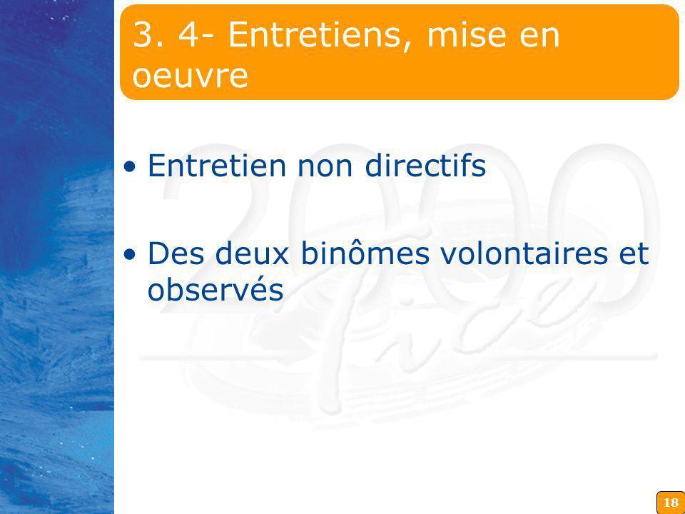 18 3. 4- Entretiens, mise en oeuvre Entretien non directifs Des deux binômes volontaires et observés