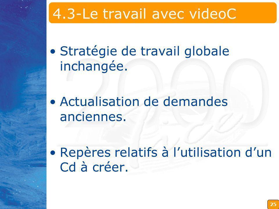 25 4.3-Le travail avec videoC Stratégie de travail globale inchangée. Actualisation de demandes anciennes. Repères relatifs à lutilisation dun Cd à cr