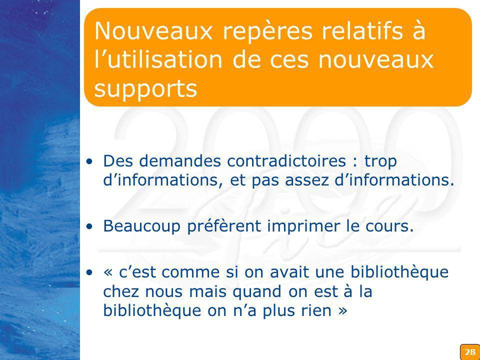 28 Nouveaux repères relatifs à lutilisation de ces nouveaux supports Des demandes contradictoires : trop dinformations, et pas assez dinformations.