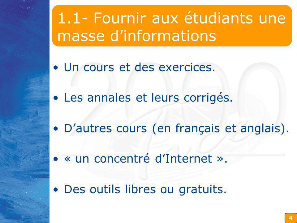 4 1.1- Fournir aux étudiants une masse dinformations Un cours et des exercices. Les annales et leurs corrigés. Dautres cours (en français et anglais).