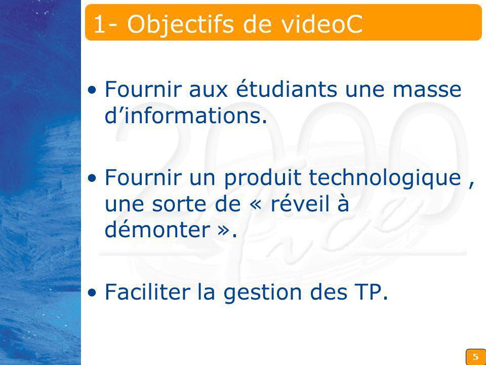 5 1- Objectifs de videoC Fournir aux étudiants une masse dinformations. Fournir un produit technologique, une sorte de « réveil à démonter ». Facilite